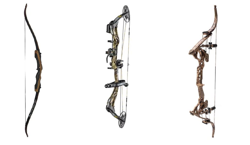 The recurve (left) is a common bow for kids to learn with. The compound (center) is the most common hunting bow on today's market. The lever bow (right) gives you the traditional feel of the recurve bow with the size and power advantages of a compound bow.