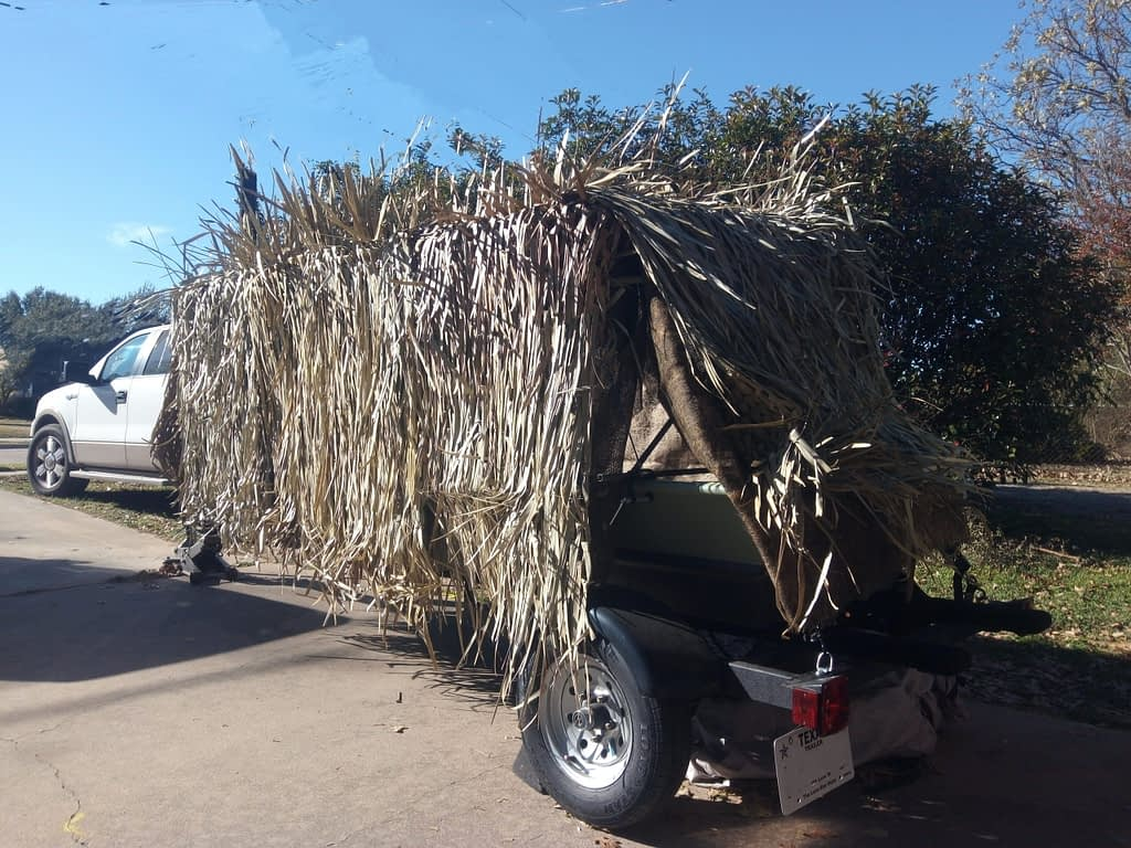 A light weight, foldable duck blind that can be attached to the Jon Boat any time you're ready to hunt.